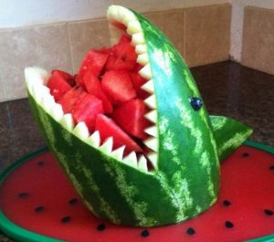 Carved Watermelon Display