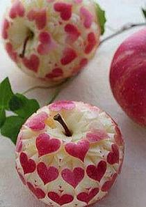 Apple With Carved Hearts