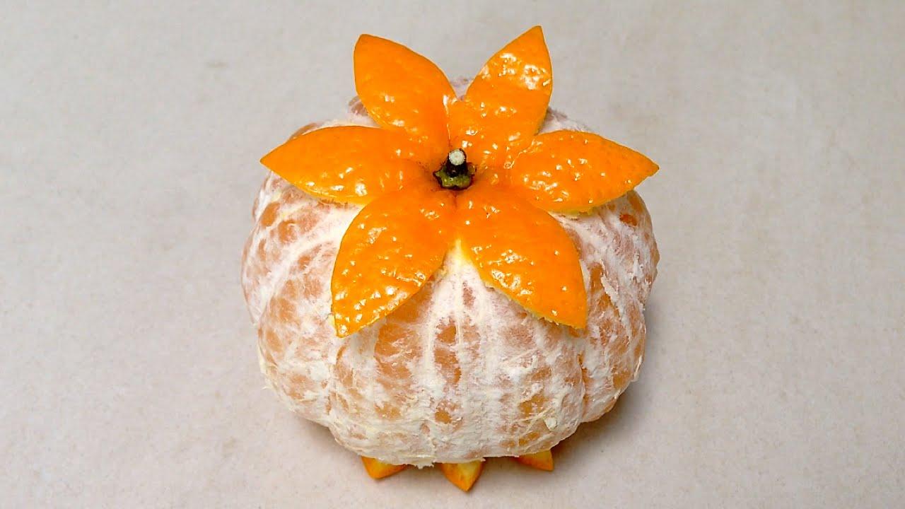 Carved Orange Using a Fruit Knife