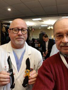 Gordon Blake and Dave Navoyosky demonstrate personalized pocket knives