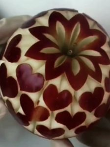 Fruit Knife Trick #3: Apples with Allover Heart Motif
